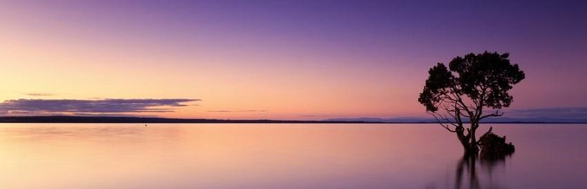 大自然の夕日の湖