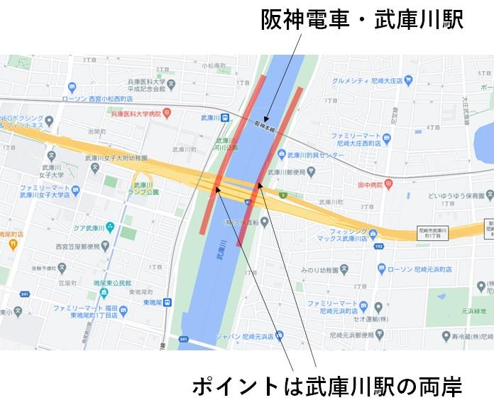 武庫川のハゼ釣りポイントの地図
